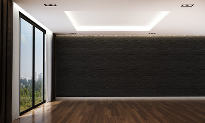 The interior 3d rendering design of luxury empty living room and black brick wall