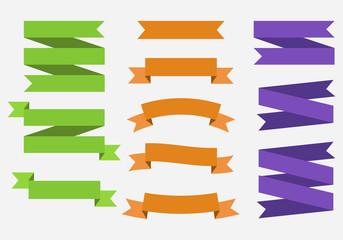 Vector banner Ribbons. Set of 11 ribbons. Green, Orange, Purple Ribbons. Template