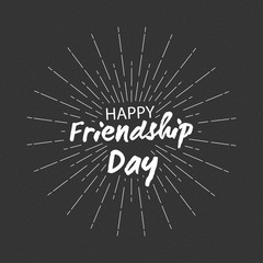Vector Happy friendship day backgroung with lettering and starburst for greeting cards design.