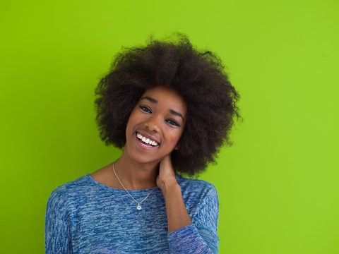 black woman isolated on a Green background