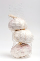 Row white garlic bulbs in net package with white background, general and useful seasoning for tasty foods.