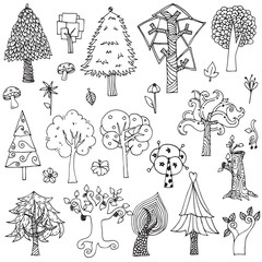 Set of elements trees and flower doodle hand drawn sketch in black line on white isolated