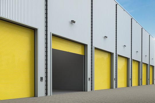 warehouse exterior with shutter doors