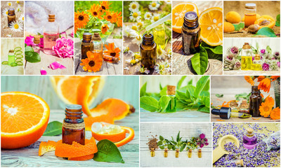 collage of herbs and essential oil.
