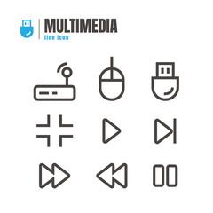 Multimedia icons set. vector. on white background. logo. symbol.