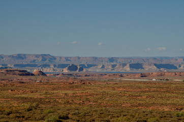 Lake Powell and Page panoramic view from Horseshoe Bend on Colorado river Cococino county, Arizona, United States