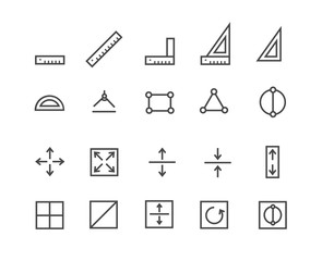Measure Pixel Perfect Well-crafted Vector Thin Line Icons