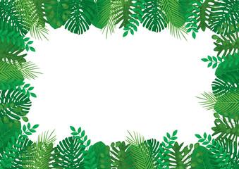 Tropical Leaves Vector Rectangle Frame Border Template