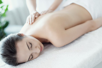 Woman in spa salon