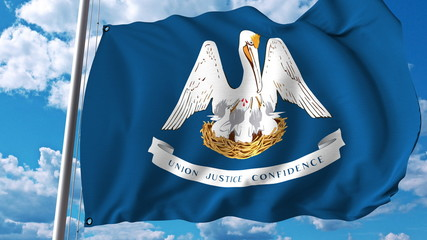 Waving flag of Louisiana. 3D rendering
