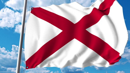 Waving flag of Alabama. 3D rendering
