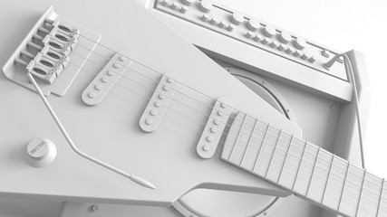 Electric guitar with amplifier. 3d rendering.
