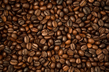 Roasted coffee bean groups use for background.
