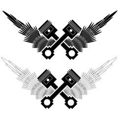 Motor pistons icon isolated on white background