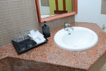 cement interior style in restroom, basin countertop.