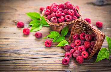 Fresh raspberries in the basket