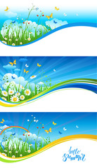 Blue sky and clouds banners