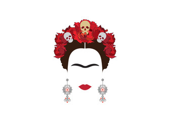portrait of Mexican woman with skulls , Mexican crafts earrings and red flowers, minimalist Frida,  inspiration Santa Muerte in Mexico and Catrina, vector illustration