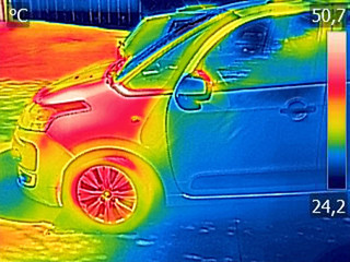 Infrared thermovision image showing Car Engine After driving