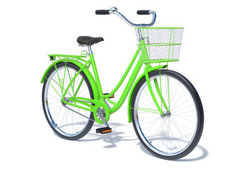 Green Vintage Style Bike isolated on white background