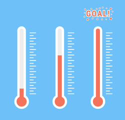 vector clipart set of goal thermometers at different levels with degrees