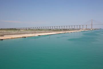 The Suez Canal Bridge on the west bank at El-Qantara