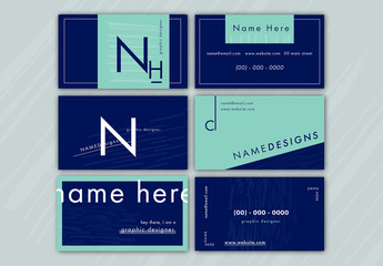 Navy and Teal Business Card Layouts 1