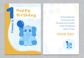Cartoon Elephant Birthday Card Layout 1