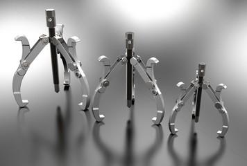 3d illustration of bearing puller isolated on metallic