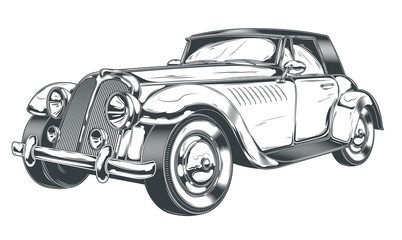 Vector black and white illustration of retro car in engraving style, isolated on white background. Print, template, design element