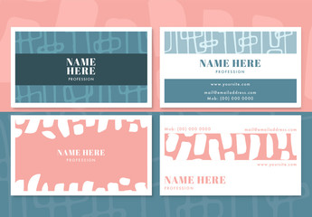 Doodle Pattern Business Card Layouts 2