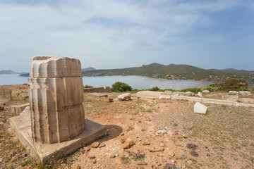 Remnants of a column next to the Poseidon temple at Cape Sounion