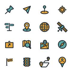 Vector flat navigation icons set