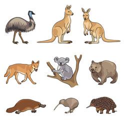 Set of vector Australian animals