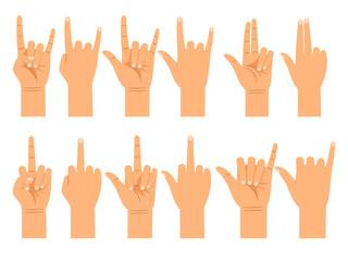 People hand signals different gestures