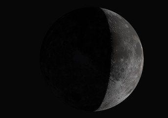 3D illustration half moon.