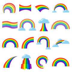 Rainbow icon cartoon flat set