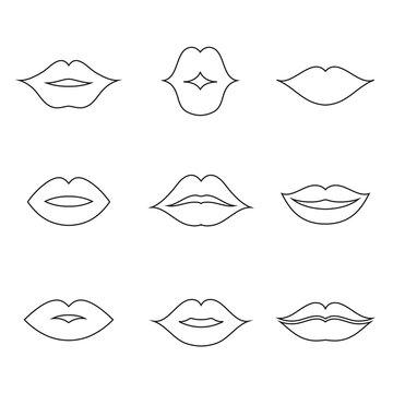 Lips outline thin art set