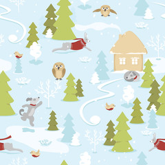 Seamless pattern of fairytale christmas landscape with animals in snowy  forest on blue background. Christmas tale, small house on the edge of the forest, owls, dogs and hares