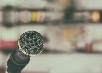 Microphone in the room with vintage color tone ans blurred focus background