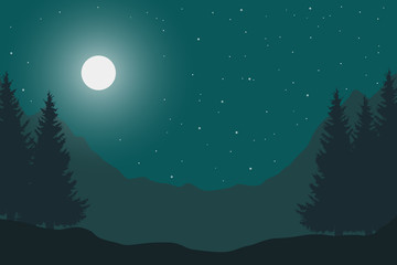 Vector flat illustration of a panoramic night mountain landscape with a wood under the sky with moon and stars with space for text