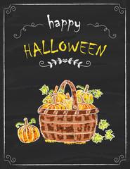 Halloween pumpkins doodle on the black board