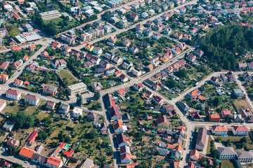 Aerial view of small city with many streets and houses, Czech Republic