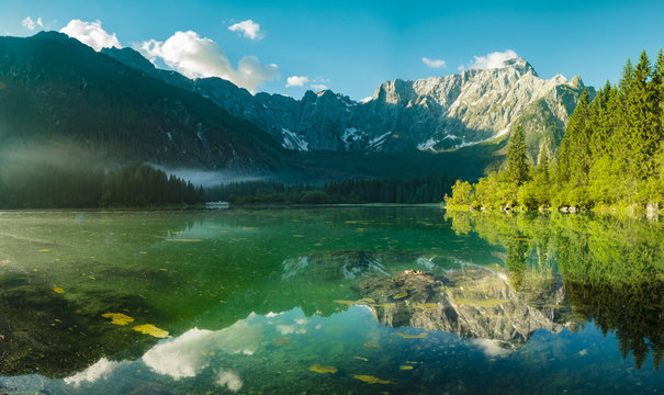 High resolution panorama of the Laghi di Fusine alpine lake in the Julian Alps in Italy