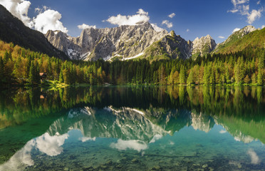 Wall Mural - High resolution panorama of the Laghi di Fusine alpine lake in the Julian Alps in Italy