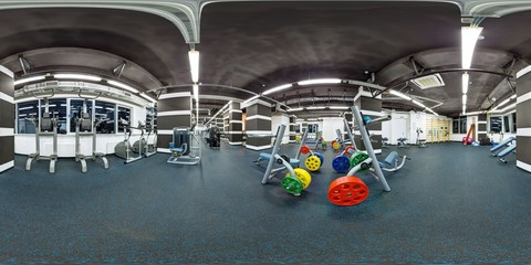 Empty big modern fitness gym with sport equipment full 360 degree panorama in equirectangular spherical projection