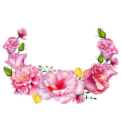 Wildflower roses flower wreath in a watercolor style. Full name of the plant: roses. Aquarelle wild flower for background, texture, wrapper pattern, frame or border.