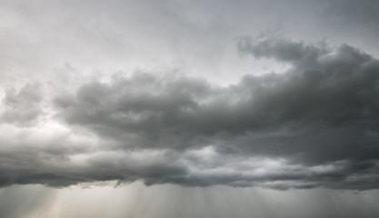 Rain clouds and gloomy sky in black and white