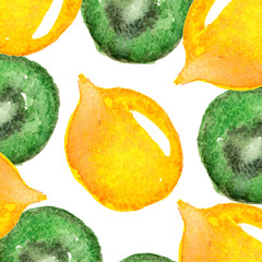 Raster watercolor conceptual background with bright lemons and cut kiwi. Summer, food, catering, natural and healthy lifestyle themes, design element, modern prints and decorations.