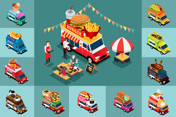 Isometric Design of Different Food Trucks